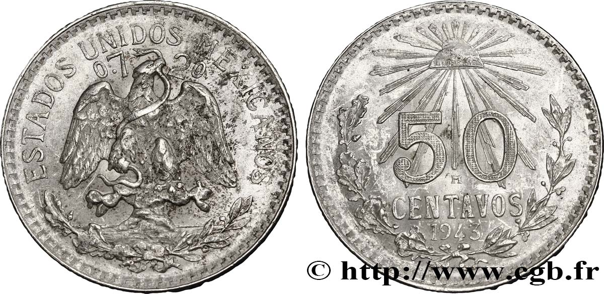 MEXIQUE 50 Centavos 1943 Mexico TTB+