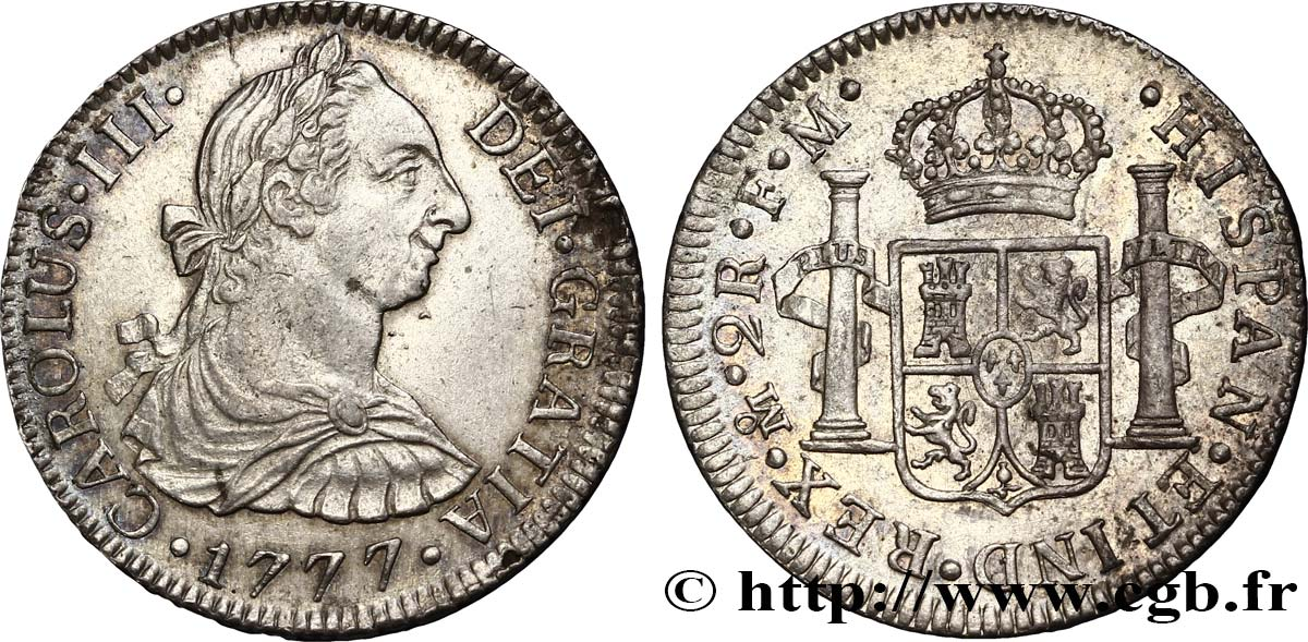 MEXIQUE 2 Reales Charles III d'Espagne 1777 Mexico TTB+