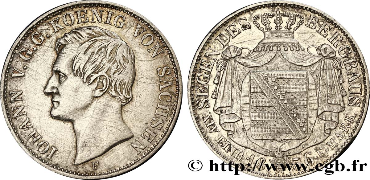 ALLEMAGNE - SAXE Thaler Jean 1856 Dresde TB+
