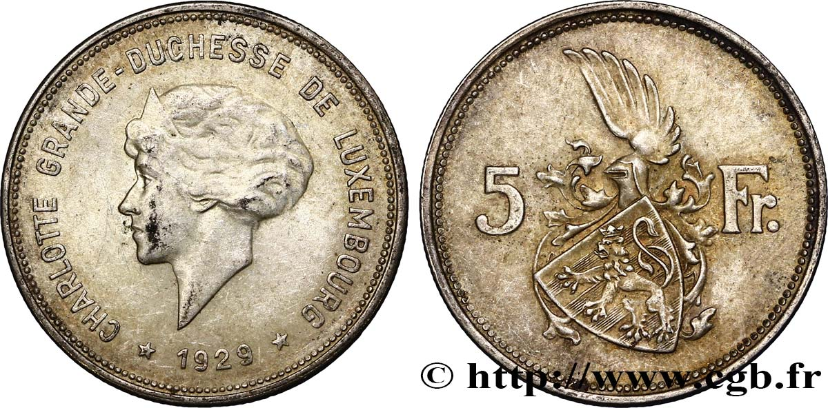 LUXEMBOURG 5 Francs Grande-Duchesse Charlotte 1929  TTB+