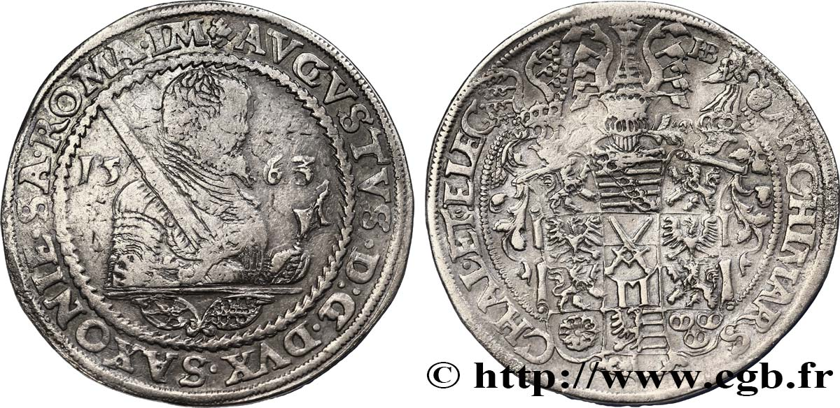 ALLEMAGNE - SAXE Thaler Auguste Ier 1563 Dresde TB+