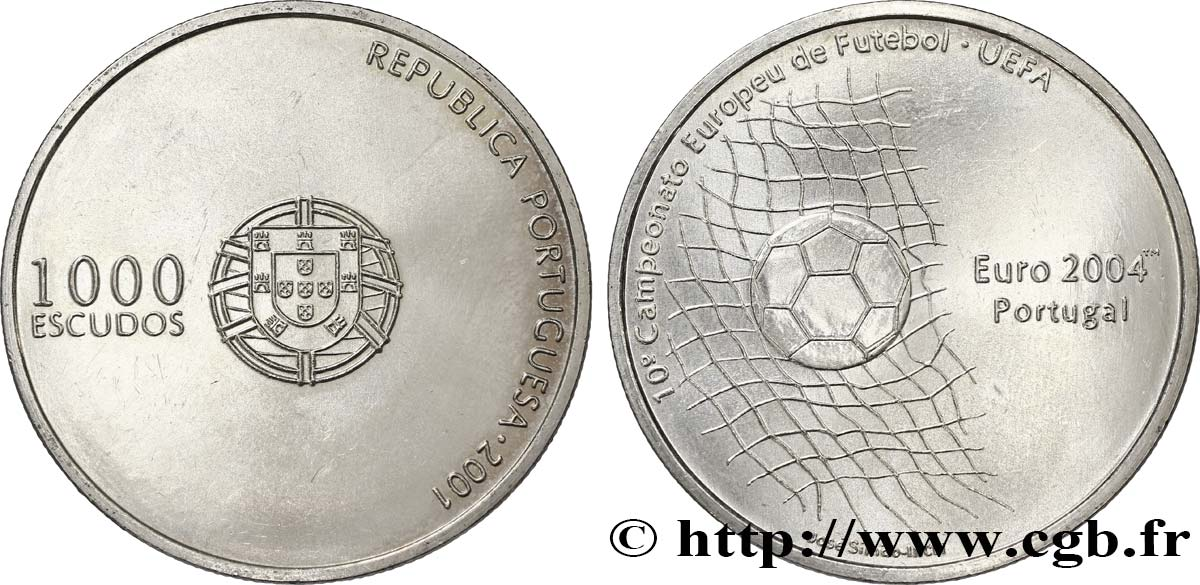 PORTUGAL 1000 Escudos 10e Championnat d'Europe de Football 2001  SUP