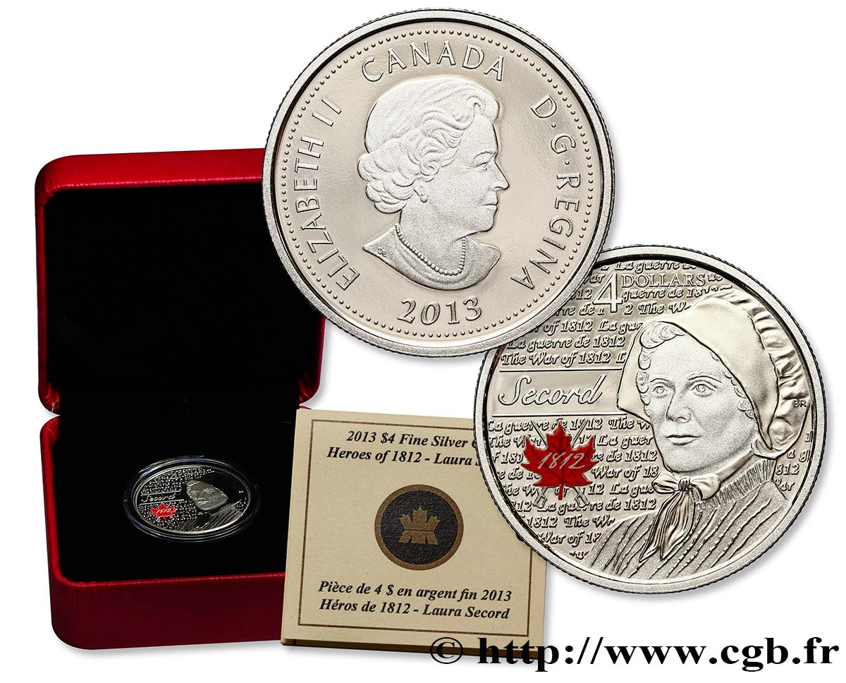 CANADA 4 Dollars Proof Laura Secord 2013  FDC