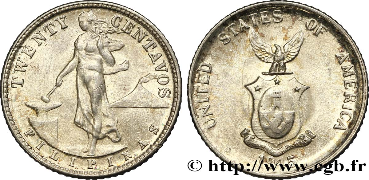 PHILIPPINES 20 Centavos - Administration Américaine 1945 Denver SPL