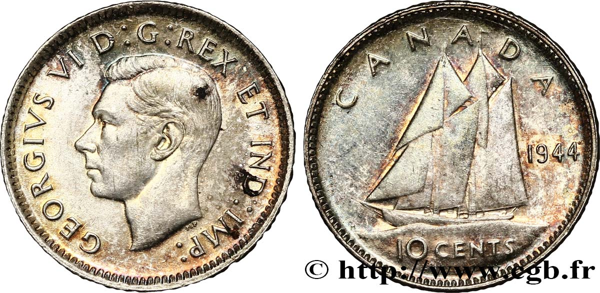 CANADA 10 cents Georges VI 1944  SPL