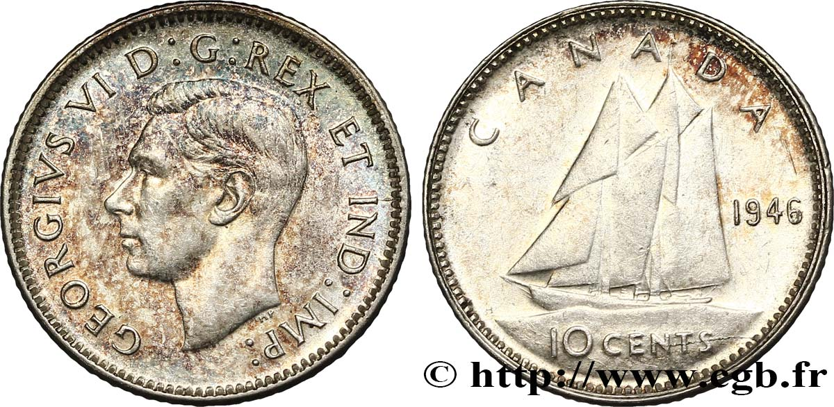 CANADA 10 cents Georges VI 1946  SPL