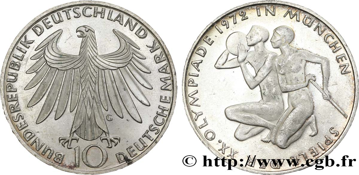 ALLEMAGNE 10 Mark XXe J.O. Munich : basket-ball et canoeing / aigle 1972 Karlsruhe SUP