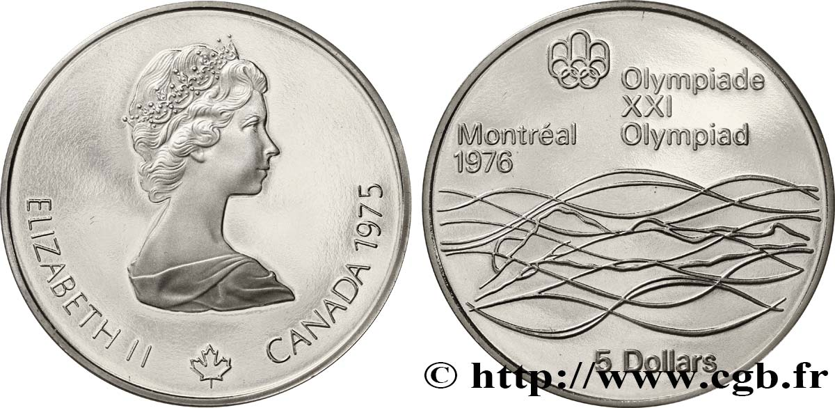 CANADA 5 Dollars Proof JO Montréal 1976 natation 1975  FDC