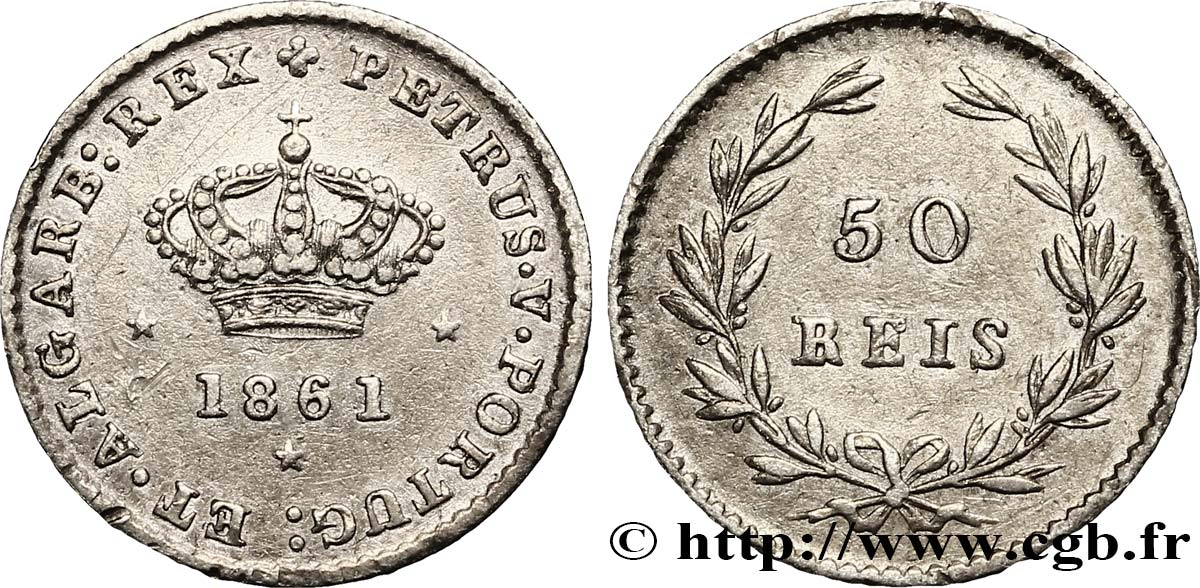 PORTUGAL 50 Réis Pierre V 1861  SUP