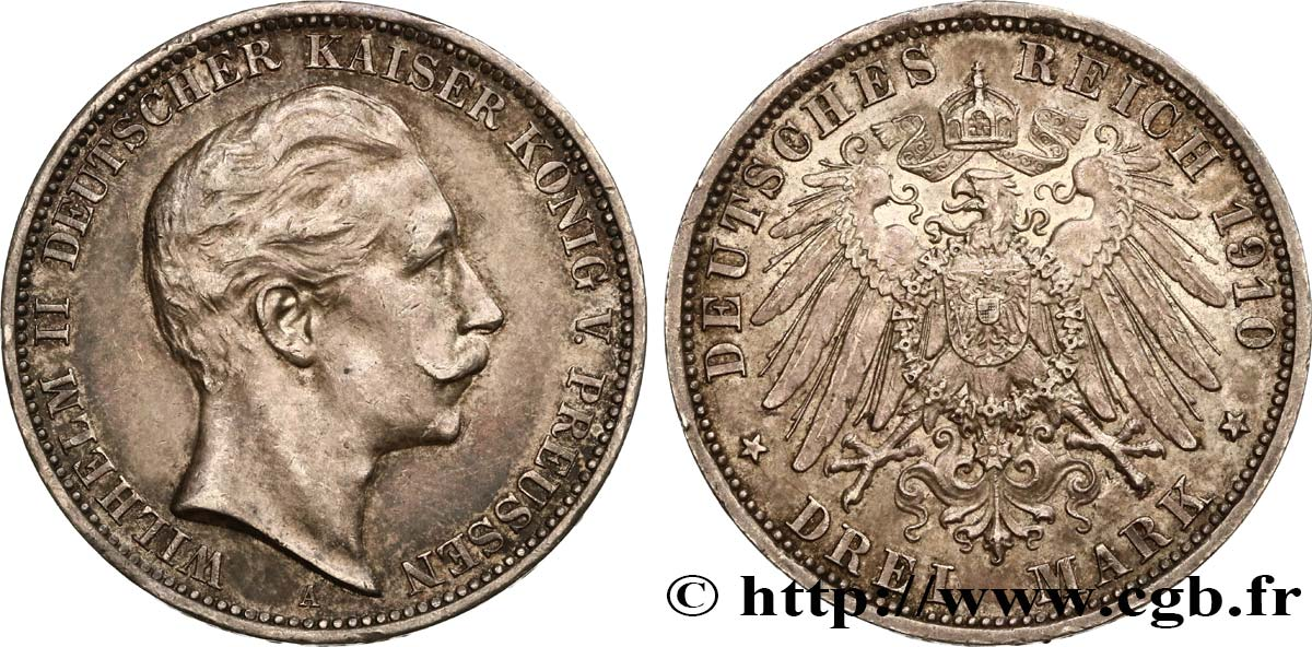 ALLEMAGNE - PRUSSE 3 Mark Guillaume II 1910 Berlin SUP