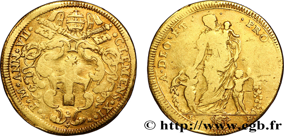 ITALY - PAPAL STATES - CLEMENT XI (Giovanni-Francesco Albani) Quadruple écu d'or 1706 Rome VF