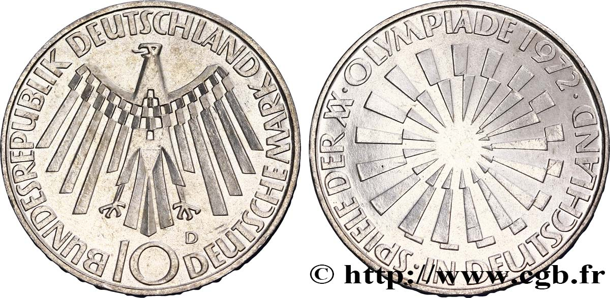 "ALLEMAGNE 10 Mark XXe J.O. Munich / aigle type ""IN DEUTSCHLAND"" 1972 Munich SUP"