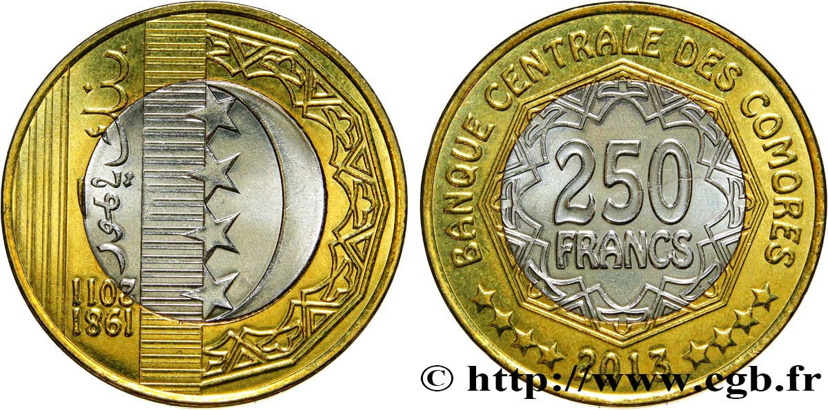 COMOROS 250 Francs 2013  MS