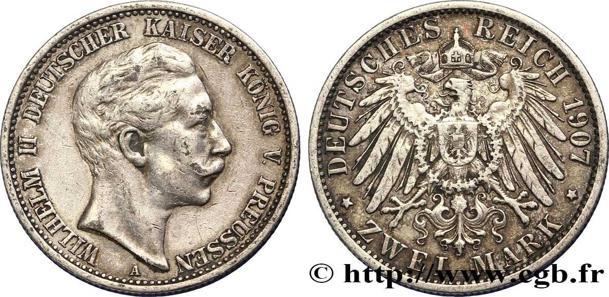 ALLEMAGNE - PRUSSE 2 Mark Royaume Guillaume II 1907 Berlin TTB