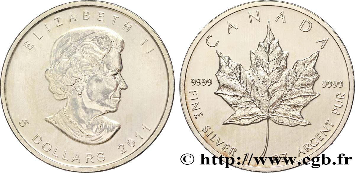 CANADA 5 Dollars (1 once) Proof feuille d'érable / Elisabeth II 2011  SUP