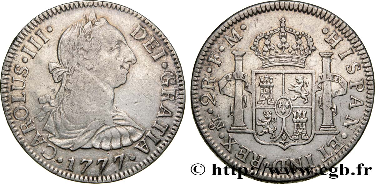 MEXIQUE 2 Reales Charles III d'Espagne 1777 Mexico TTB