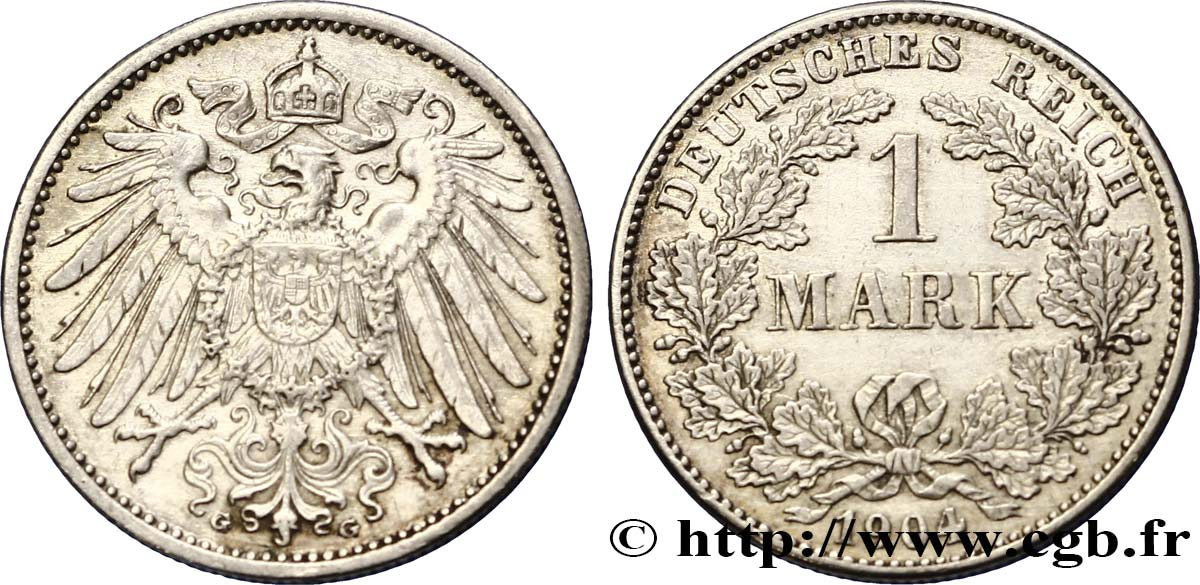 ALLEMAGNE 1 Mark Empire aigle impérial 2e type 1904 Karlsruhe TTB+