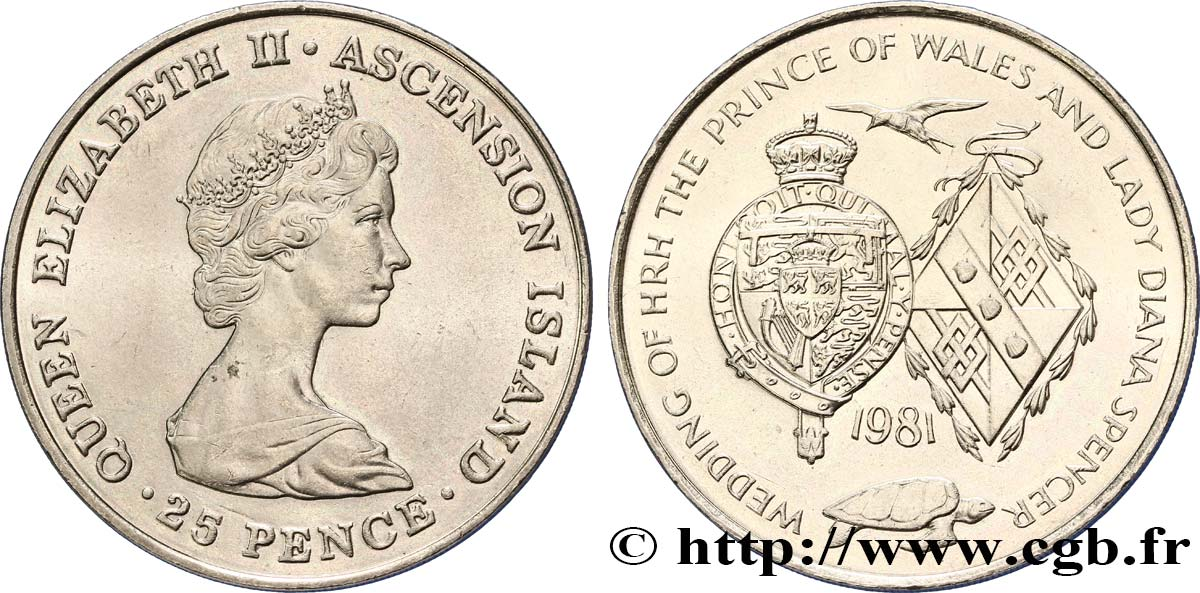 ASCENSION 25 Pence mariage du prince de Galles et de lady Diana Spencer 1981  SPL