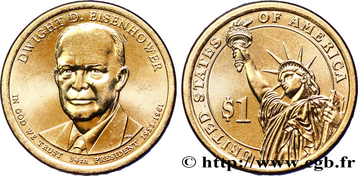 UNITED STATES OF AMERICA 1 Dollar Dwight D. Eisenhower tranche B 2015 Denver MS