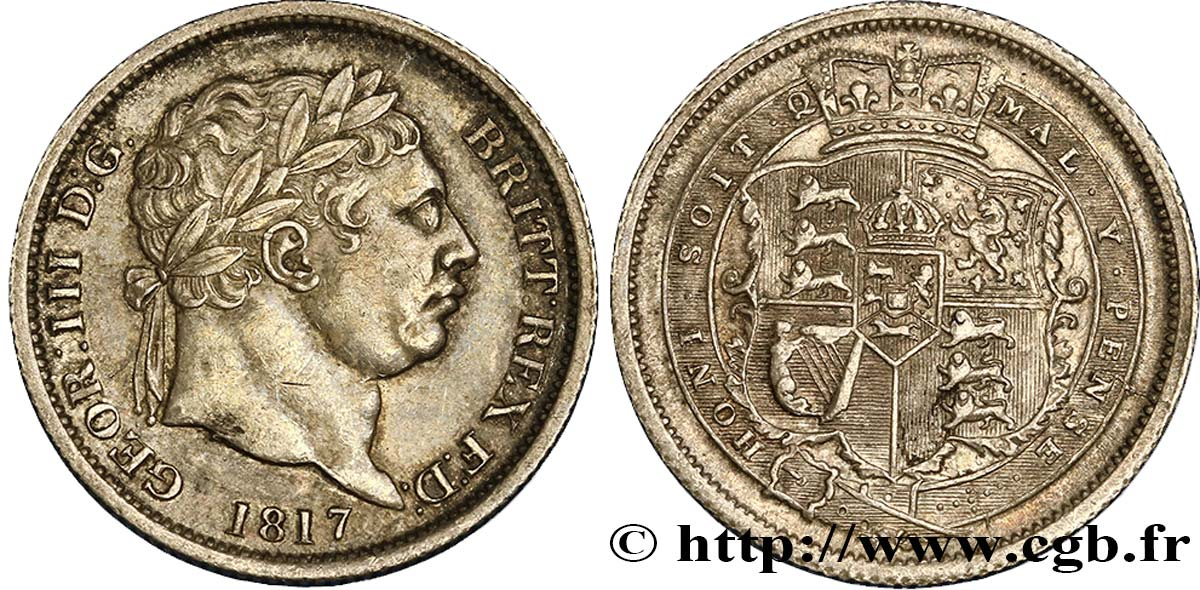 ROYAUME-UNI 1 Shilling Georges III 1817  SUP