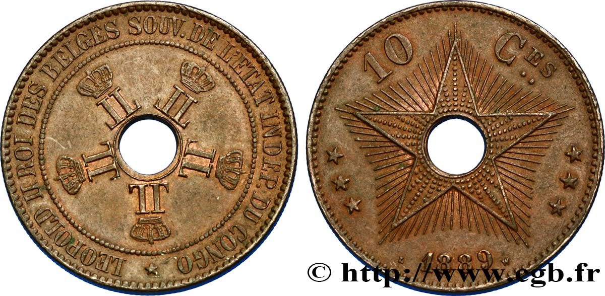 CONGO BELGE 10 Centimes 1889  SUP