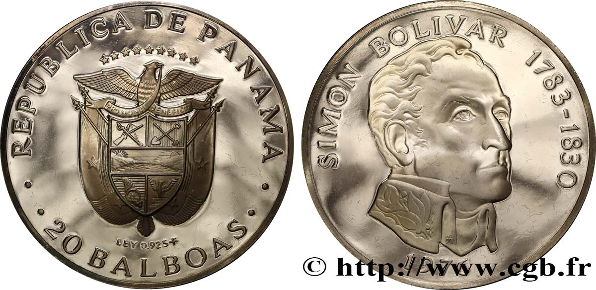 PANAMA 20 Balboas Simon Bolivar Proof 1976  SPL