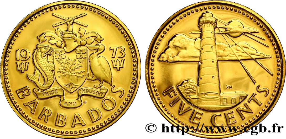 BARBADE 5 Cents Proof Phare de South Point 1973  SPL