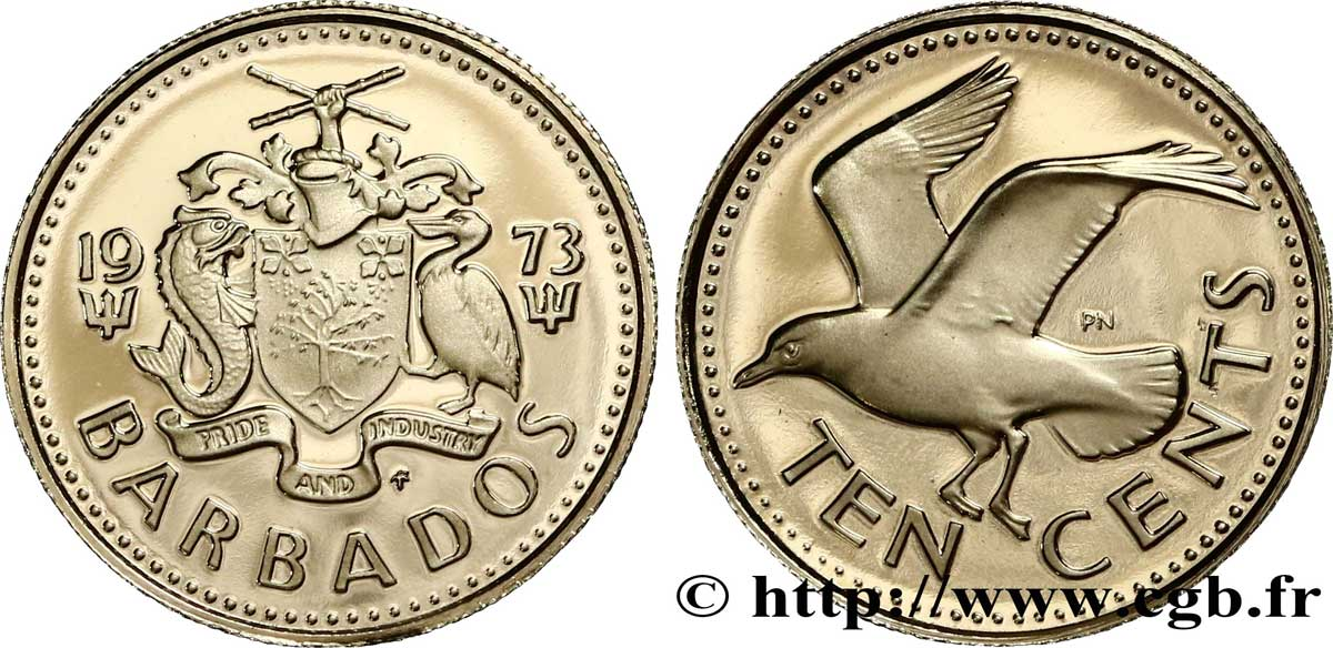 BARBADE 10 Cents Proof Mouette rieuse 1973  SPL
