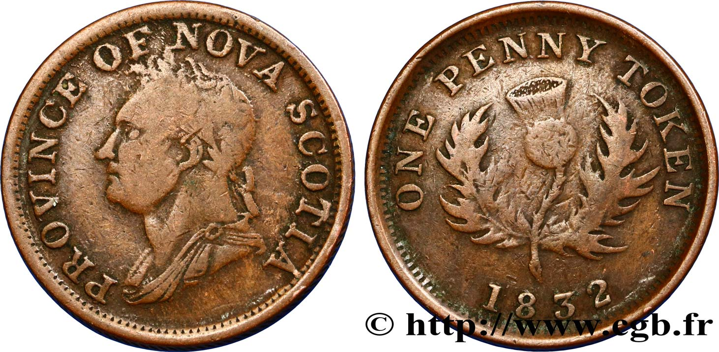 CANADA 1 Penny Token Nouvelle-Écosse  William IV 1832  B+