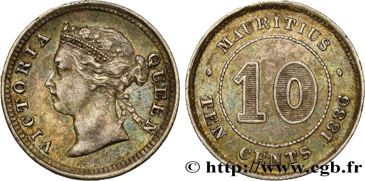 ÎLE MAURICE 10 Cents Victoria 1886  SUP