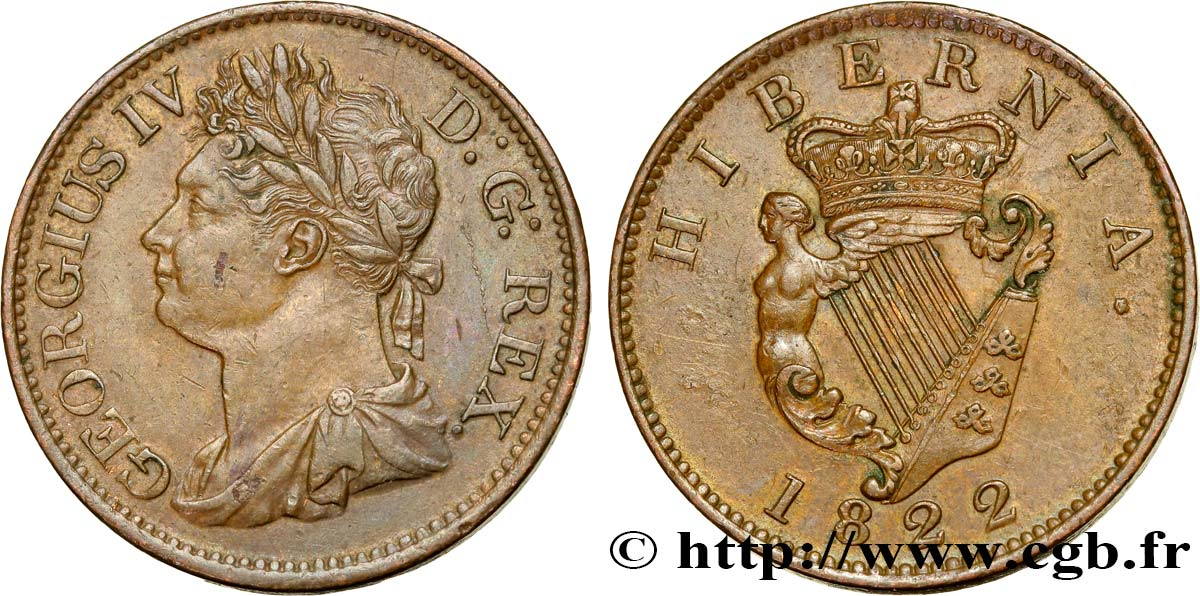 IRLANDE 1/2 Penny Georges IV 1822  SUP