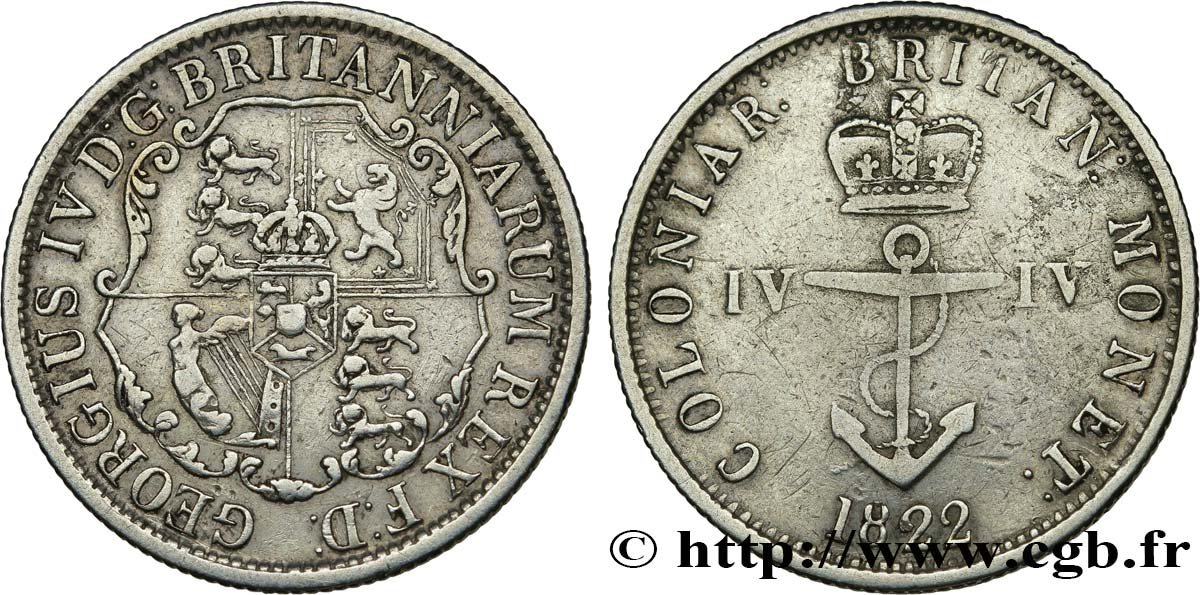 INDES BRITANNIQUES OCCIDENTALES 1/4 Dollar 1822  TTB/TB+