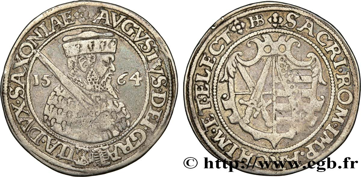 ALLEMAGNE - SAXE 1/4 Thaler Auguste 1564 Dresde TTB