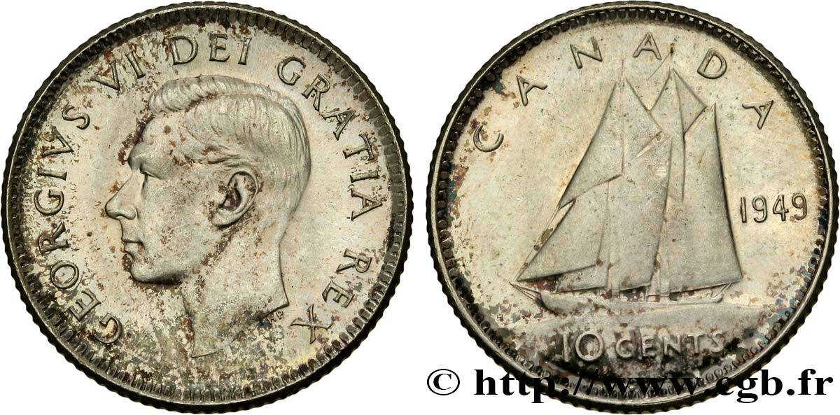 CANADA 10 cents Georges VI 1949  SPL