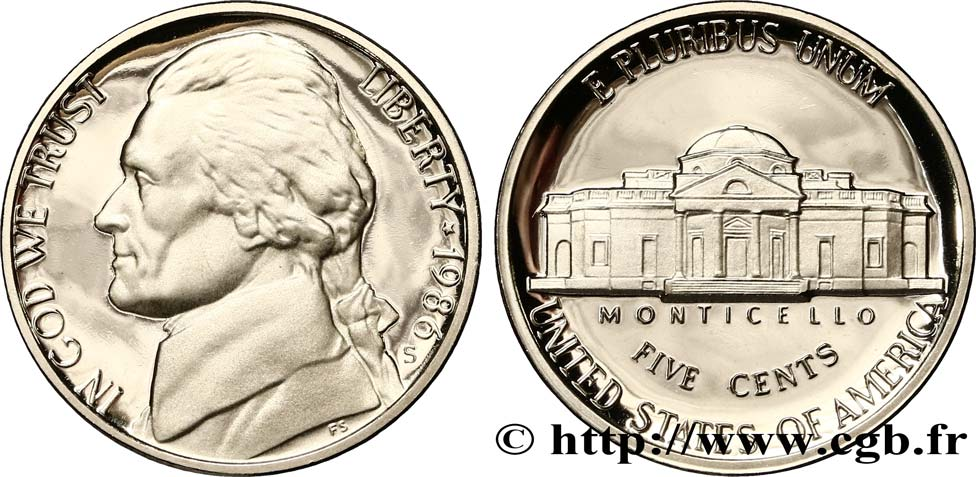 ÉTATS-UNIS D AMÉRIQUE 5 Cents Proof président Thomas Jefferson / Monticello 1986 San Francisco - S FDC