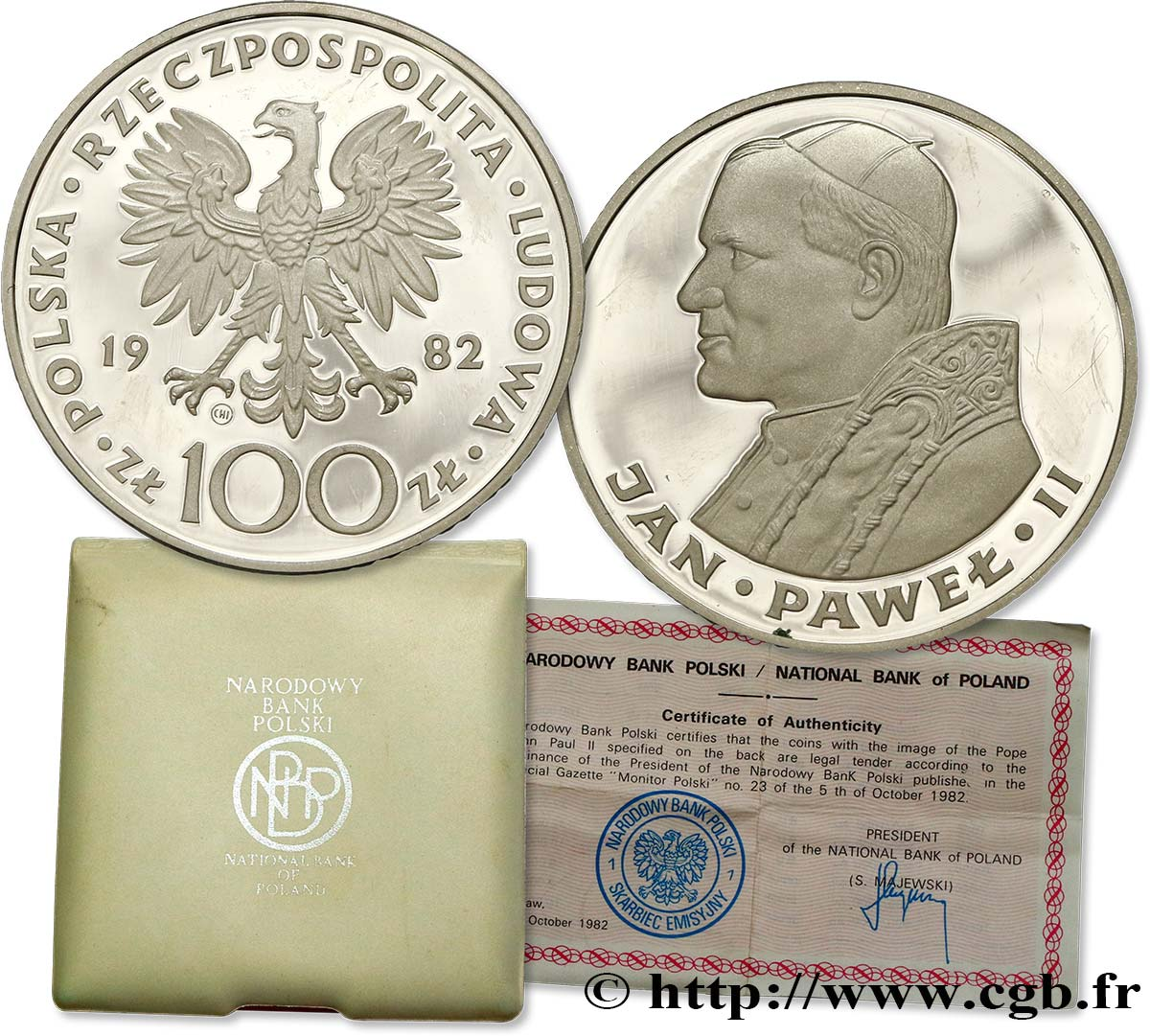 POLOGNE 100 Zlotych Proof visite du pape Jean-Paul II 1982  SPL