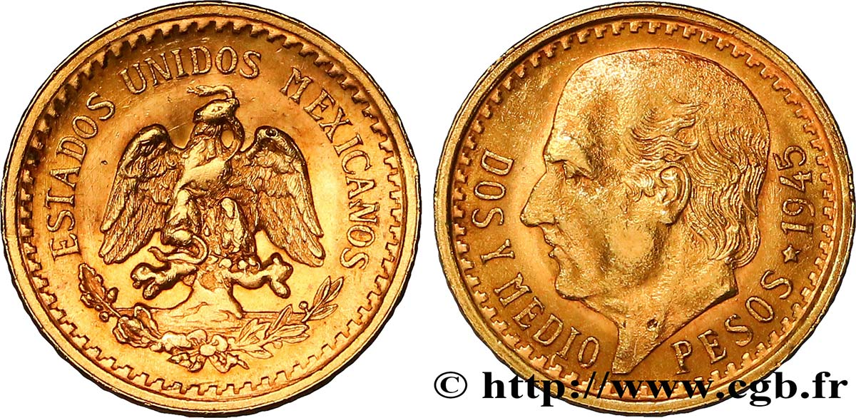 MEXIQUE 2 1/2 Pesos or Aigle du Mexique / Miguel Hidalgo 1945 Mexico SPL