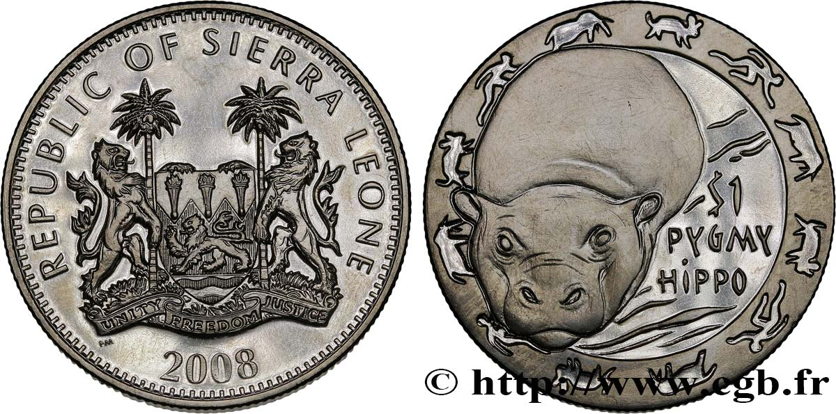 SIERRA LEONE 1 Dollar Proof Animaux nocturnes : hippopotame nain 2008  SPL