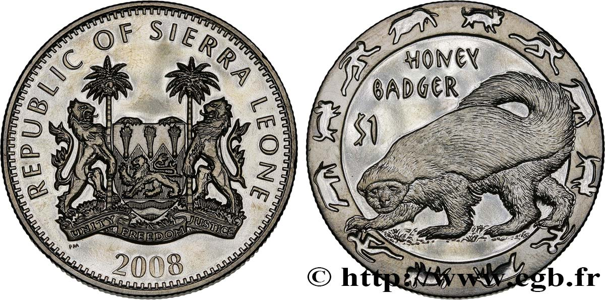 SIERRA LEONE 1 Dollar Proof Animaux nocturnes : ratel 2008  SPL