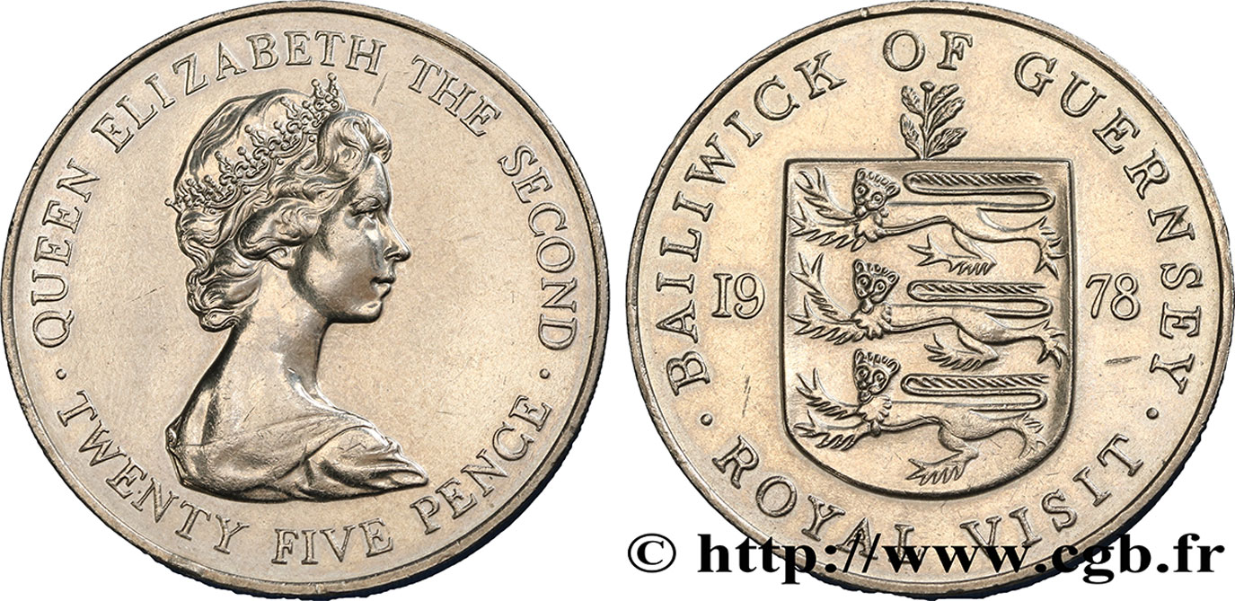 GUERNESEY 25 Pence Visite Royale 1978  SUP