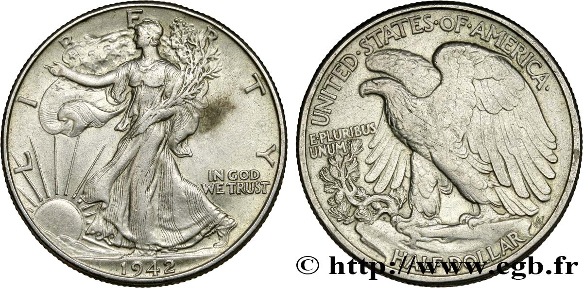 ÉTATS-UNIS D AMÉRIQUE 1/2 Dollar Walking Liberty 1942 Philadelphie TTB+