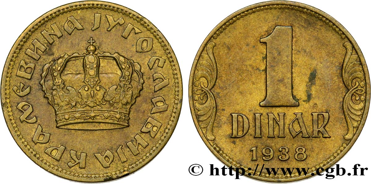 YOUGOSLAVIE 1 Dinar couronne 1938  SUP