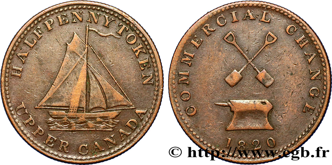 CANADA 1/2 Penny Upper Canada - Commercial Change 1820  TTB