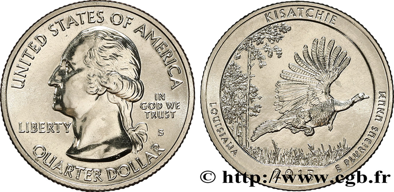 ÉTATS-UNIS D AMÉRIQUE 1/4 Dollar Forêt nationale de Kisatchie - Louisiane 2015 San Francisco SPL