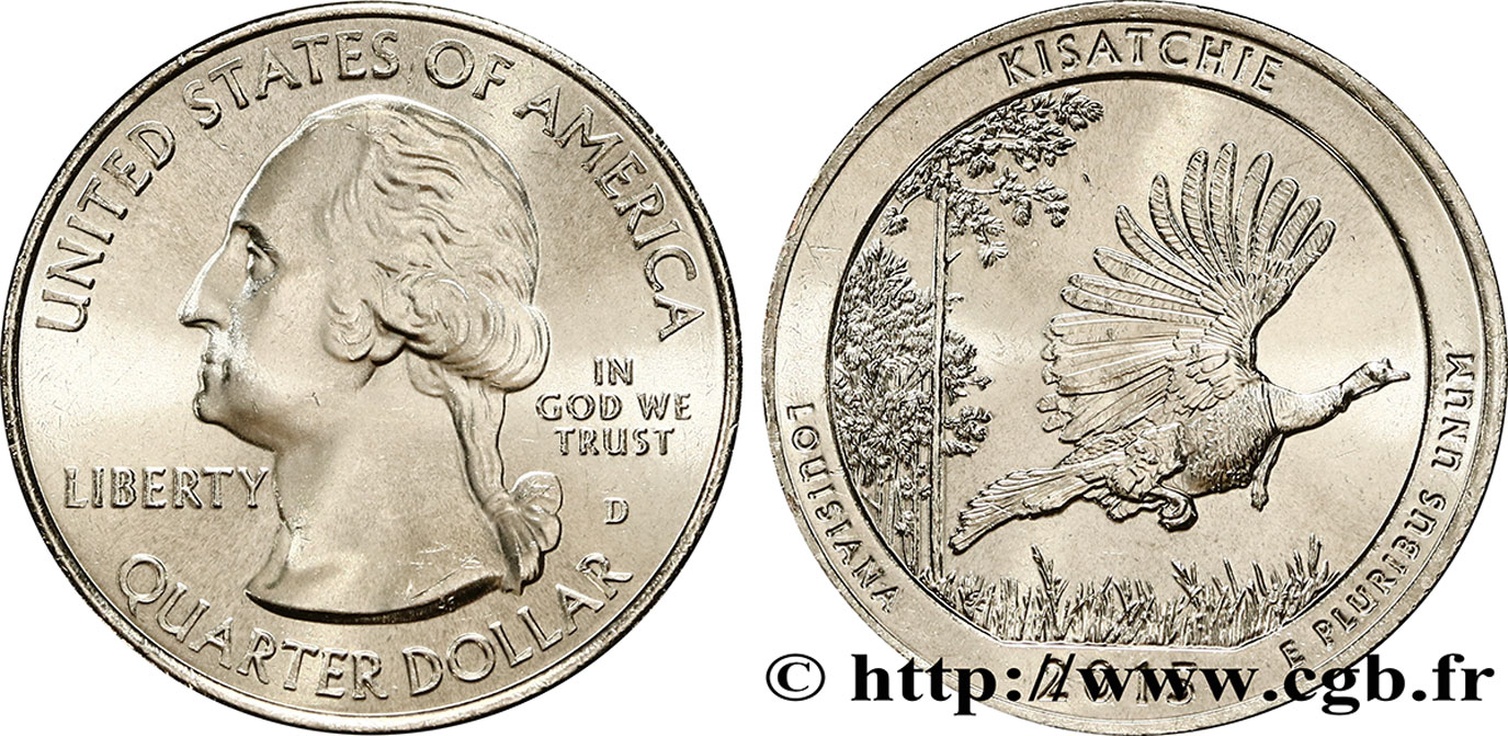 ÉTATS-UNIS D AMÉRIQUE 1/4 Dollar Forêt nationale de Kisatchie - Louisiane 2015 Denver SPL