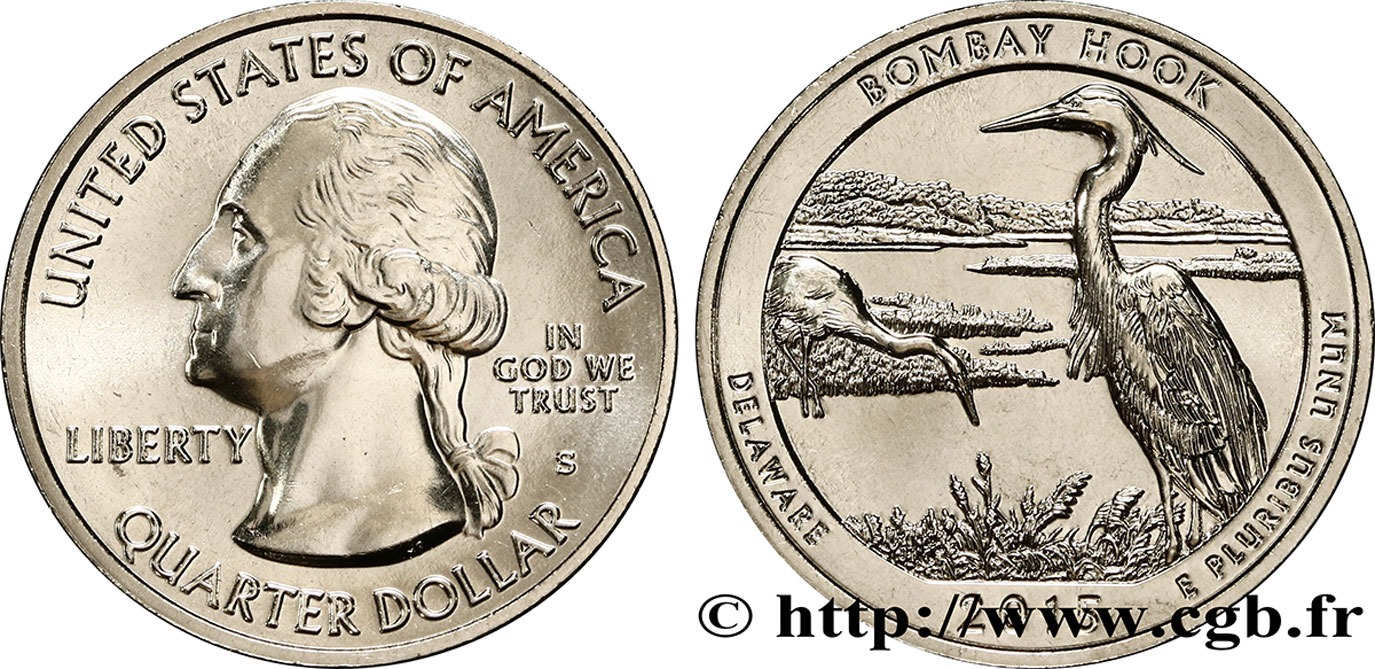 UNITED STATES OF AMERICA 1/4 Dollar Bombay Hook - Delaware 2015 San Francisco MS