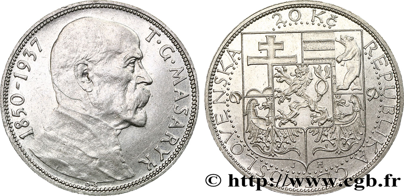 CZECHOSLOVAKIA 20 Korun Mort du Président Thomas Masaryk 1937