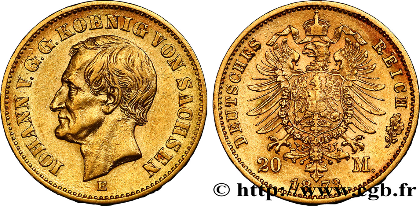 ALLEMAGNE - SAXE 20 Mark Jean 1873 Dresde TTB+