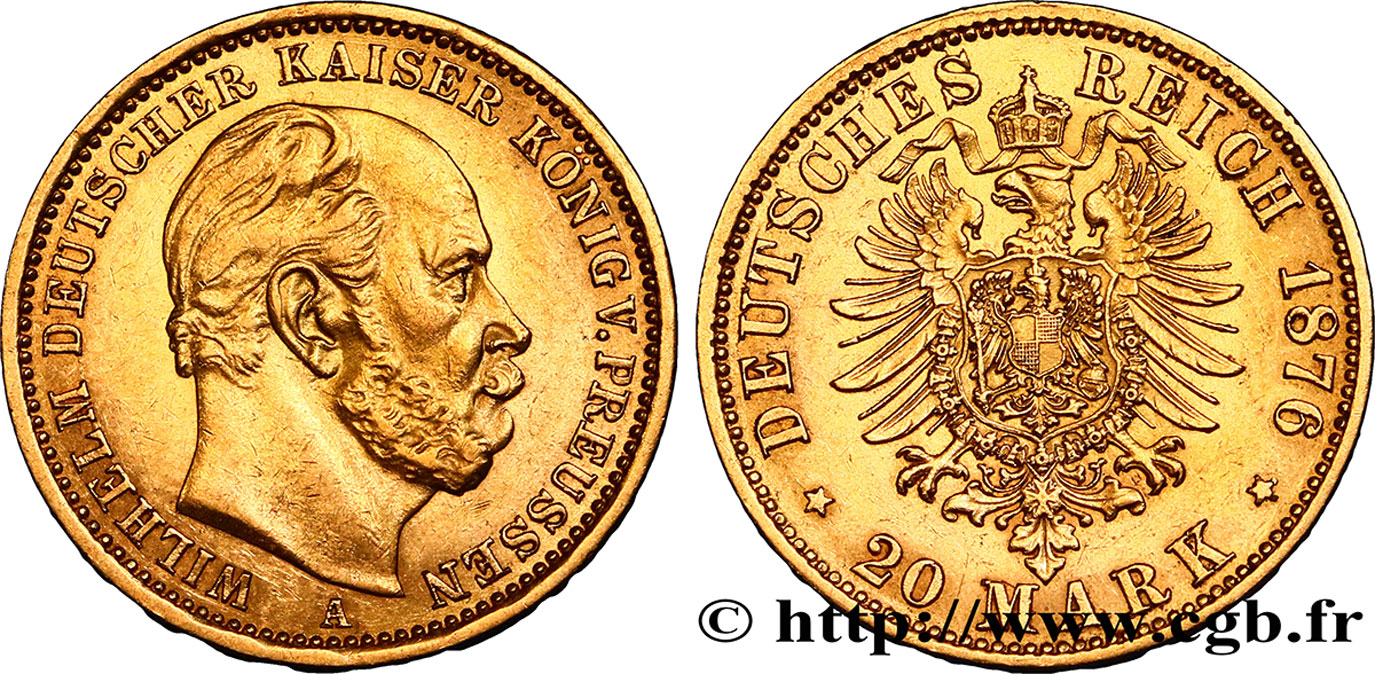 ALLEMAGNE - PRUSSE 20 Mark Guillaume Ier, 2e type 1876 Berlin TTB+