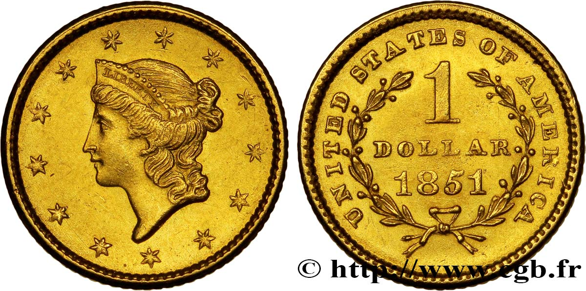 ÉTATS-UNIS D AMÉRIQUE 1 Dollar Or  Liberty head  1er type 1851 Philadelphie SPL